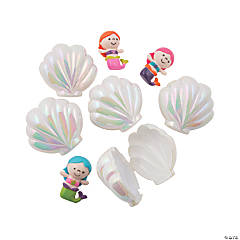 Iridescent Sea Shell Toy-Filled Plastic Easter Eggs - 12 Pc.