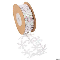 Iridescent Snowflake Die-Cut Ribbon - 1""