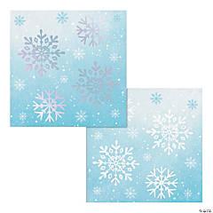 Iridescent Snowflakes Beverage Napkins