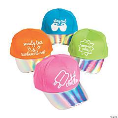 Iridescent Summer Sayings Baseball Caps