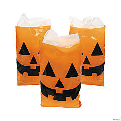 Jack-O'-Lantern Halloween Trick-or-Treat Plastic Goody Bags