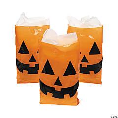 Jack-O'-Lantern Halloween Trick-or-Treat Plastic Goody Bags