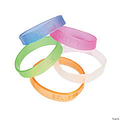 Jelly Inspirational Sayings Rubber Bracelets