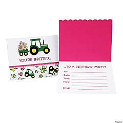 John Deere™ Pink Invitations