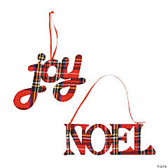 Joy & Noel Plaid Christmas Ornaments