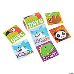 Jumbo Amazing Animals 100th Day of School Stickers