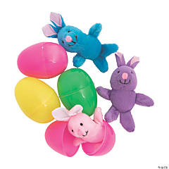 Jumbo Bright Stuffed Bunny-Filled Plastic Easter Eggs - 12 Pc.