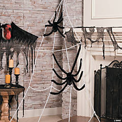 Jumbo Corner Spider Web with Spiders Halloween Decoration