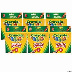 Jumbo Crayons, 8 Per Box, 6 Boxes