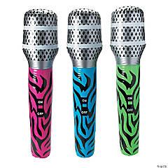 Jumbo Inflatable Neon Zebra Print Microphones
