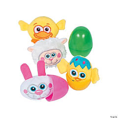 Jumbo Plush Easter Character-Filled Plastic Easter Eggs - 12 Pc.