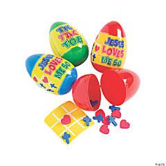 Jumbo Religious Tic-Tac-Toe Game-Filled Plastic Easter Eggs - 12 Pc.
