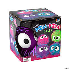 Jumbo Vinyl Flashing Pom-Pom Balls with Eyes