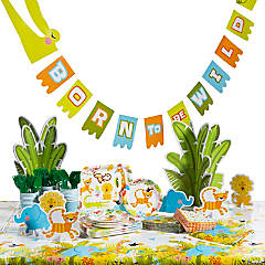 Jungle Baby Shower Tableware Kit for 8 Guests