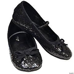 Kid's Black Glitter Ballet Shoes - Size 13/1