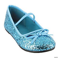 Kid's Blue Glitter Ballet Shoes - Size 2/3