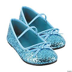 Kid's Blue Glitter Ballet Shoes - Size 4/5