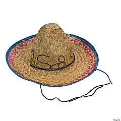 Kid's Embroidered Woven Straw Sombreros