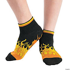 Kid's Flames Ankle Gripper Socks - Large