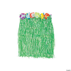 Kid's Green Flowered Hula Skirt