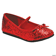 Kid's Red Glitter Ballet Shoes - Size 11/12