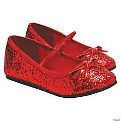 Kid's Red Glitter Ballet Shoes - Size 4/5