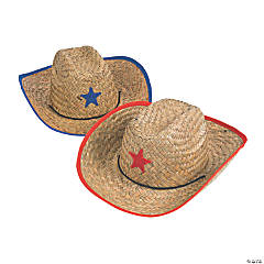Kid's Straw Cowboy Hats with Plastic Star