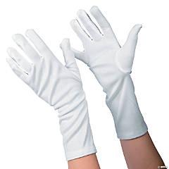 Kid's White Long Gloves