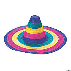Kid's Woven Straw Rainbow Sombreros