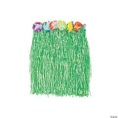 Kiddie Plastic Flowered Green Hula Skirt