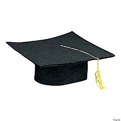 Kids' Black Felt Elementary School Graduation Mortarboard Hats