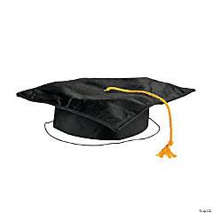 Kids' Black Shiny Elementary School Graduation Mortarboard Hat