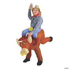 Kid's Blow Up Inflatable Bull Rider Halloween Costume