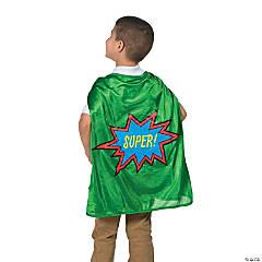 Kids' Green Elementary School Graduation Superhero Cape