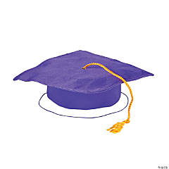 Kids' Purple Shiny Elementary School Graduation Mortarboard Hat