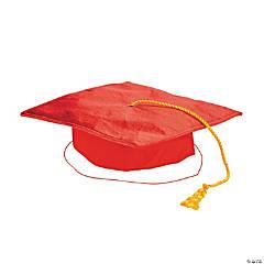 Kids' Red Shiny Elementary School Graduation Mortarboard Hat