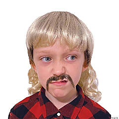 Kid's Tiger Cool Cat Mullet and Mustache Set