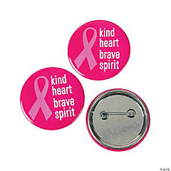 Kind Heart Brave Spirit Pink Ribbon Buttons