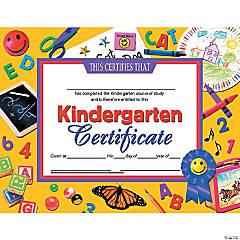 Kindergarten Certificate, 30 per Pack, 6 Packs