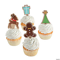Kraft Paper Christmas Cupcake Decorations