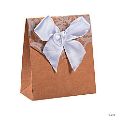 Kraft Paper Tented Favor Boxes with Lace