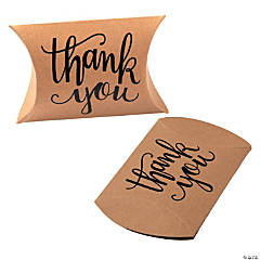 Kraft Paper Thank You Pillow Boxes