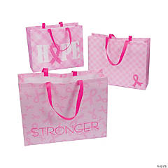Laminated Nonwoven Polyester Pink Ribbon Tote Bags