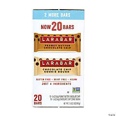 LARABAR Peanut Butter Chocolate Chip & Chocolate Chip Cookie Dough Bars Variety, 1.6 oz, 20 Count