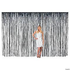 Large Black Foil Fringe Curtain Background