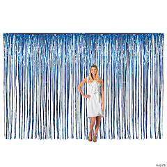 Large Blue Metallic Fringe Backdrop Curtain