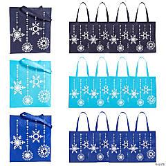 Large Blue Snowflake Tote Bags