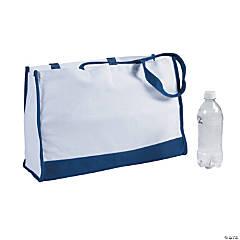 Large Blue Trim Rectangular Tote Bag