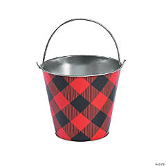 Large Buffalo Plaid Pail