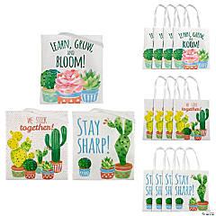 Large Cactus Laminated Tote Bags